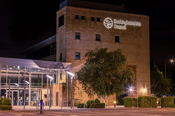 Buckinghamshire council offices at night