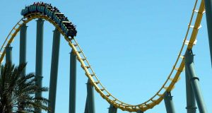 Rollercoaster against a blue sky